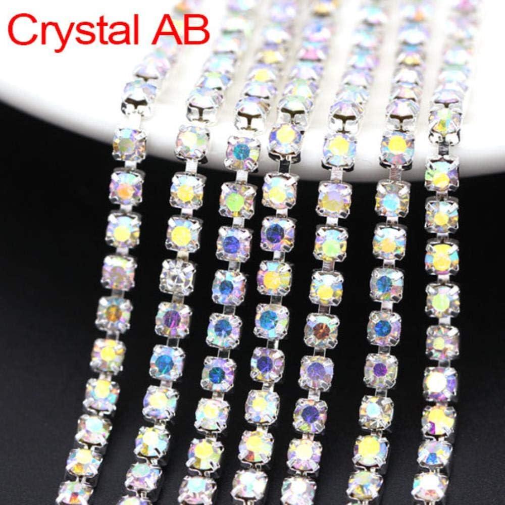 Cadena de Diamantes de imitación de 5 Yardas 21 Colores Crystal Trim Sliver Cup Claw Chain Coser en Diamantes de imitación de Vidrio para Ropa 1.5/2 / 2.5/2.8/3 / 4MM, Crystal AB, SS4.5 (1.4-1.5MM)