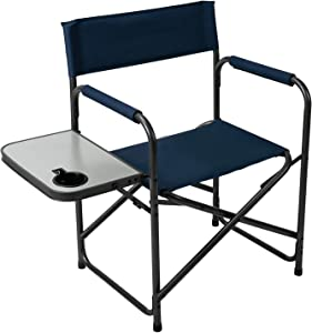Pacific Pass Camping Directors Chair Folding Portable Chair with Side Table Cup Holder Collapsible Sports Camp Chair for Camping, Fishing, Hiking, Outdoor