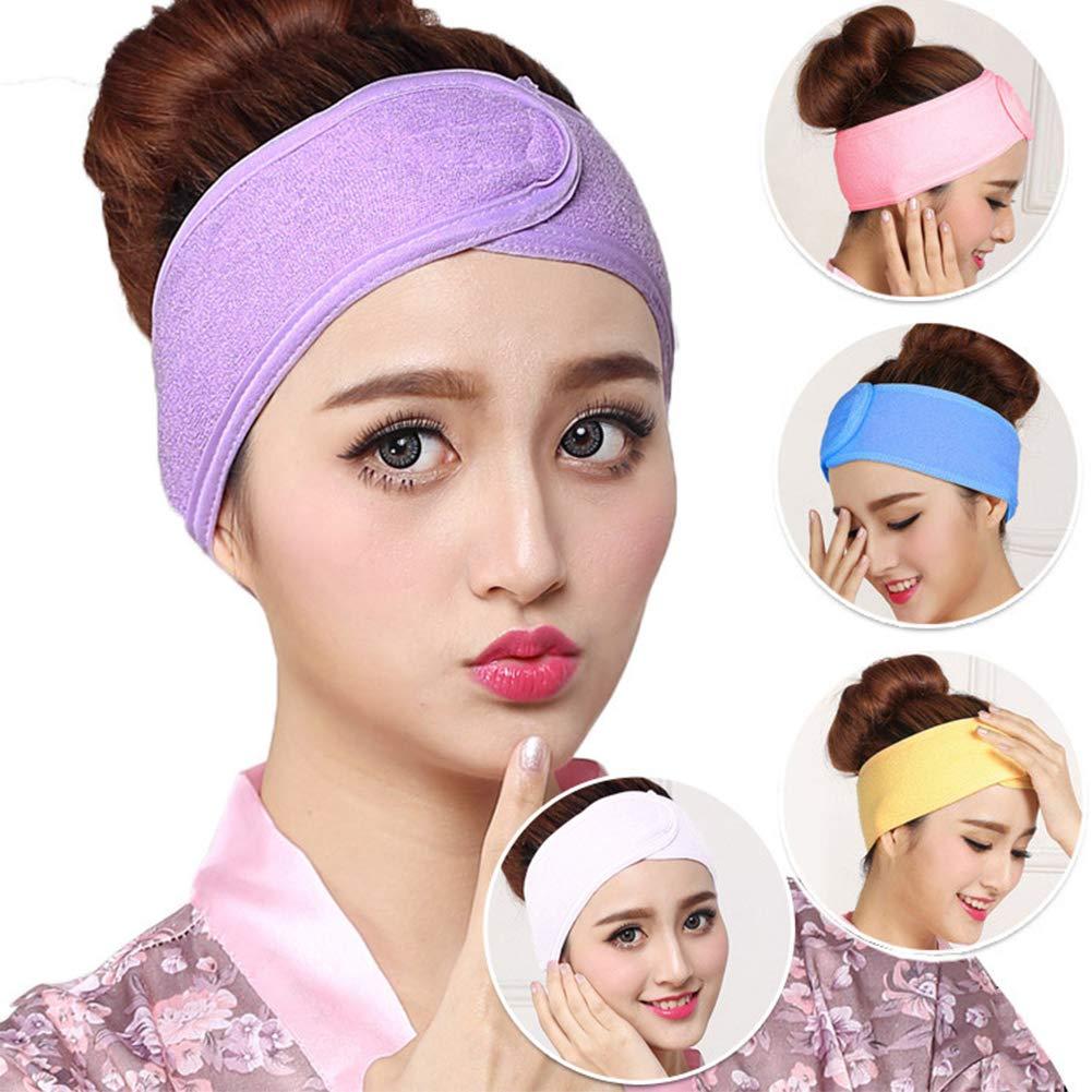 Spa Maquillaje Facial Diadema Yoga Deportes Suéter Absorbe Correa Cabello Envoltura Banda elástica toalla con gancho & Loop cinta