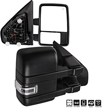 SCITOO fit Ford F150 Towing Mirrors with Black Rear View Mirrors fit 2004-2014 F150 with Reflector Power Control Heated Manual Folding Driver Side