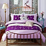 Oasis Luxury Purple Romance Pattern Bed Sheet Set, Flat Sheets, Wrinkle and Fade Resistant, Hypoallergenic Printed Sheet - ZQDL 7403