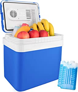 AstroAI Electric Cooler 26 Quarts/ 24 Liter Portable Thermoelectric Car Cooler for Beverage, Beer, Wine, Seafood, Fruits, Home and Travel with 2 Ice Packs (Blue)