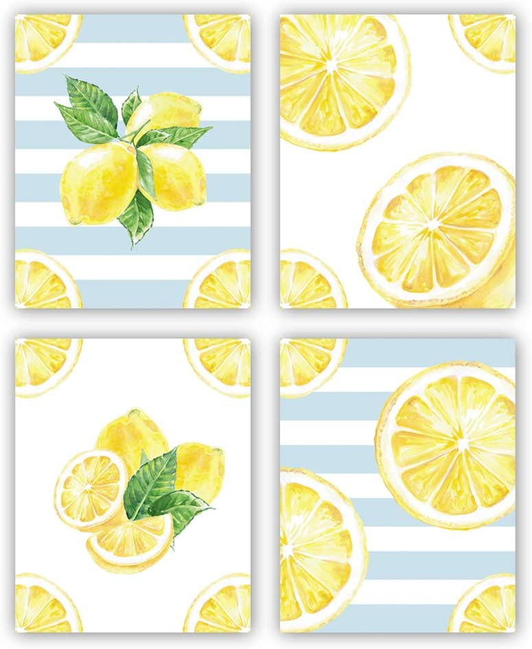 """HPNIUB Lemon Wall Art Prints,Set of 4 (8""""X10"""",Summer Wall Decor, Fruit Canvas Posters Watercolor Yellow Pictures for Kitchen Living Room Office Decor, No Frame"""