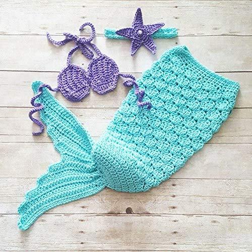Amazoncom Crochet Baby Mermaid Tail Shell Bikini Top Starfish