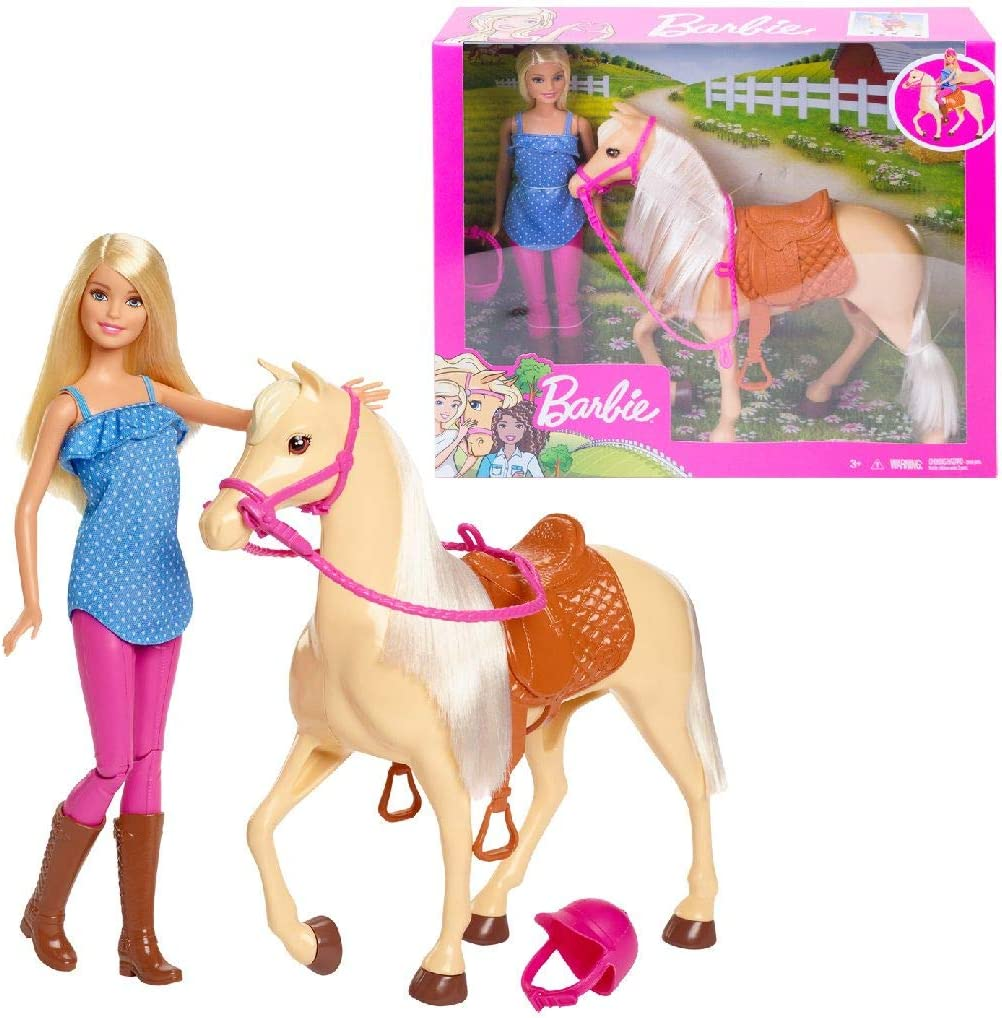 Barbie Doll, Blonde, Wearing Riding Outfit with Helmet, and Light Brown Horse with Soft White Mane and Tail, Gift for 3 to 7 Year Olds