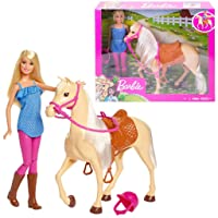 Barbie Doll, Blonde, Wearing Riding Outfit with Helmet, and Light Brown Horse with...