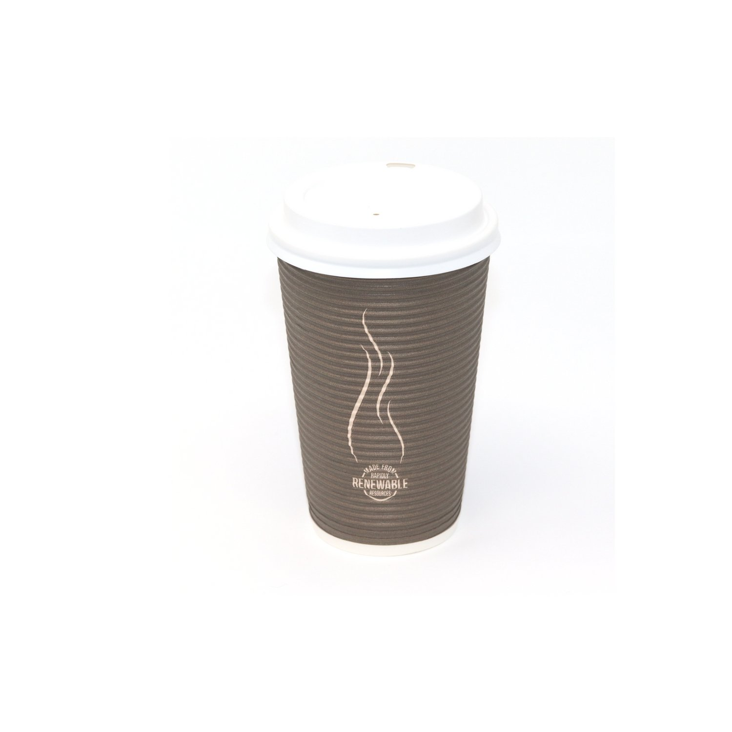 Disposable Insulated To Go Ripple Biodegradable Hot Coffee Cups with Lids [16 oz with Lid] by Berkley Square (Image #1)