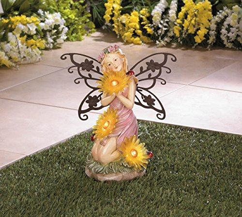 Solar Garden Statues Fairy Concrete Resin Sculptures Outdoor