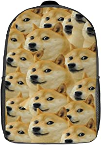Senchase Doge Backpack Casual Daypacks Lightweight 3D Printed Travel Large Bag School Bookbag Laptop Backpacks (17 inch)