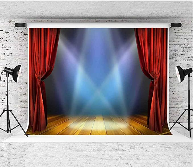 EARVO 7x5ft Stage Red Curtain Backdrop Spotlight Photography Background Show Party Cotton Backdrop (Wrinkle Resistance) Photo Booth Photocall Props ...