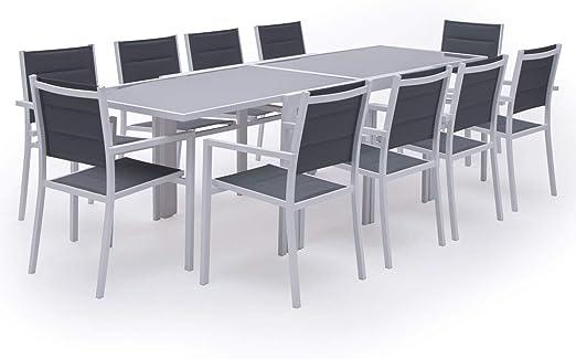 Salon de Jardin LAMPEDUSA Extensible en textilène Gris 10 Places -  Aluminium Blanc