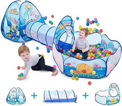 Play Tent House Ocean Ball 3PCs Crawling Tunnel Set Ocean Ball Pool Tipi Tent Pl