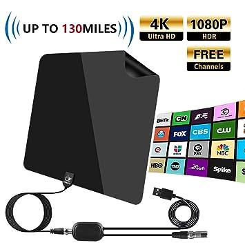 Cinati Antena de TV, Antena HDTV Digital de Interior de 130 Millas, Soporte 4K 1080P HD VHF UHF y Antena de TV de Mayor Alcance con Amplificador de ...