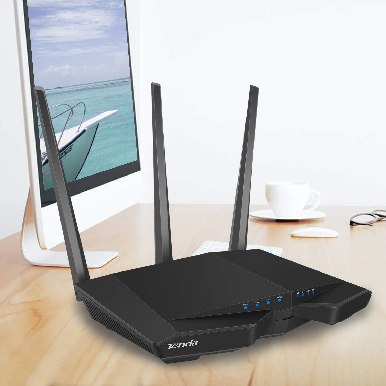 Tenda AC10 Gigabit Wireless AC1200 WiFi Router Dual Band 5 GHz, 867 Mbps, 2.4 GHz, 300 Mbps, 4 Antenne 5 dBi, Chip Broadcom da 1 GHz, Memoria DDR3, Beamforming +, Applicazione di controllo