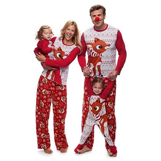 amazoncom jiayit family christmas pajamas 2pcs deer print blouse tops pants xmas outfit set clothing