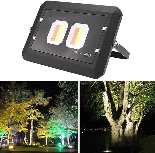 100W RGB Foco LED Exterior Proyector Impermeable 8 Colores Iluminación Comercial Luz para Exteriores Bajo Consumo de Energía Luz de Seguridad para Caminos, Jardíns, Estacionamientos: Amazon.es: Jardín