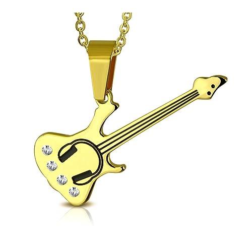 Color dorado de acero inoxidable 2-Tone guitarra eléctrica instrumento musical encanto colgante con Clear CZ: Amazon.es: Joyería