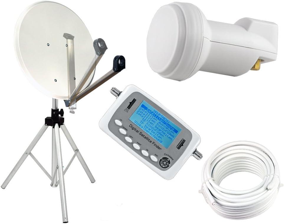 Juego de antena parabólica de 65 cm, trípode, buscador satélite, cable