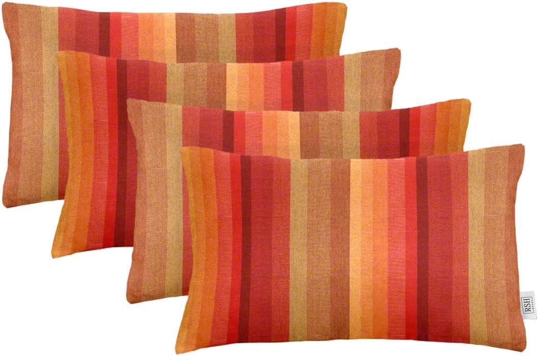 RSH D cor Set of 4 Indoor Outdoor Decorative Rectangle Lumbar Throw Pillows Sunbrella Astoria Sunset 20 x 12