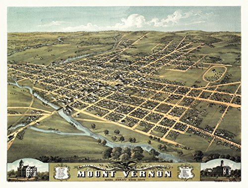 Vintage Map of Mount Vernon Ohio 1870 Knox County (18x24 Paper Poster)