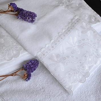 Toallas de Mano con Punta de Dedo, Bonito Bordado de Encaje, 100% algodón