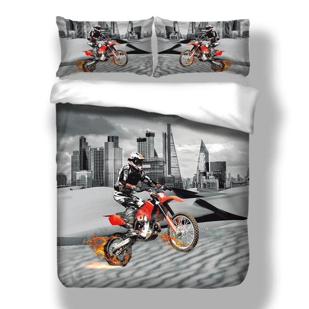 Fansu Juego de Ropa de Cama 3 Piezas Poli/éster Microfibra Moderno La Motocicleta Juego de Fundas de Edred/ón Incluye 1 Funda N/órdica y 2 Funda de Almohada 145x200cm-2pcs