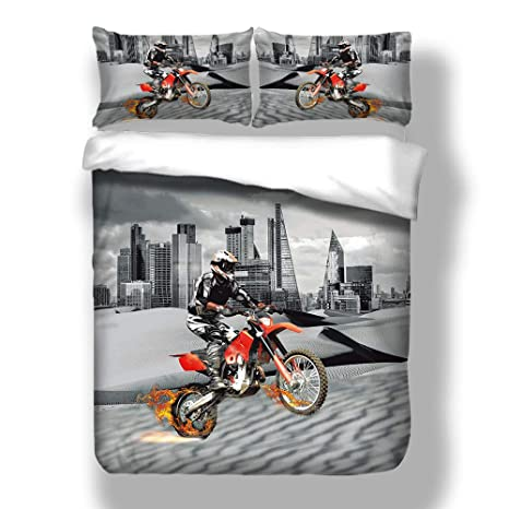 MOUNTAIN BIKE SINGLE DUVET COVER /& EUROPEAN PILLOWCASE SET COTTON BIKE RIDER