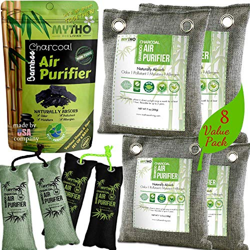 Eco Clean Green (8-PACK Bamboo Charcoal Air Purifying Bag, Activated Charcoal Odor Eliminators for Dog & Cat Litter, Natural Air Freshener Bags, Car Air Purifier, Shoe Deodorizer, Closet Freshener, Home Air Freshener)