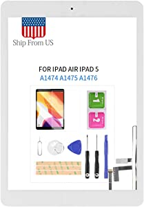 Screen Replacement Kit for iPad Air 1 1st Generation A1474 A1475 A1476 Touch Screen Digitizer Glass Panel with Home Button Repair Parts for iPad 5 Touchscreen Free Tools (White)