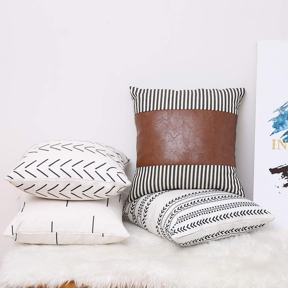 Kiuree Set of 4 Boho Throw Pillow Cover 18x18 inch Stripe Faux Leather Accent Pillow Thick Cotton Linen Decorative Cushion Covers for Couch Sofa Modern Farmhouse Decor