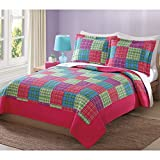 Antonia Bright Plaid Full / Queen Quilt with 2 Shams