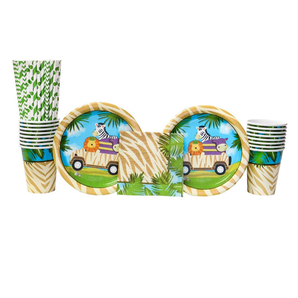 Safari Adventure Party Supplies Pack for 16 Guests: Straws, Dessert Plates, Beverage Napkins, and Cups