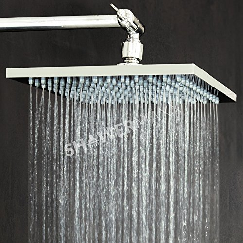 (ShowerMaxx   Premium 8 inch Square High Pressure Luxury Spa Rainfall Shower Head- Removable Restrictor for Waterfall Rainshower- Self Cleaning High Flow Nozzles – Brushed Nickel Finish Rain Showerhead)