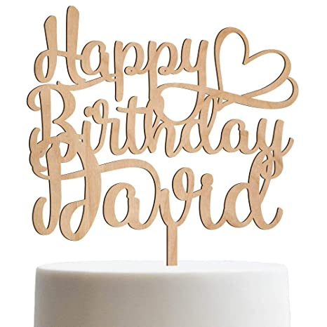 Amazon Happy Birthday Heart Personalized Name Cake Topper Customized With
