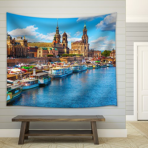 Scenic Summer View of the Old Town Architecture with Elbe River Fabric Wall Tapestry