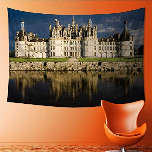 - AmaPark Art Decorative Chambord Castle Wall Hanging Bedspread Multi Purpose Tapestries 91W x 60L Inch