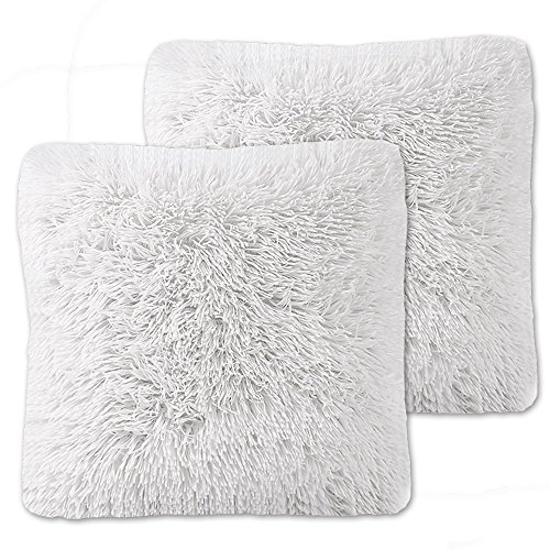 Sweet Home Collection Plush Pillow Faux Fur Soft and Comfy Throw Pillow (2 Pack), White Fur Accent Pillow