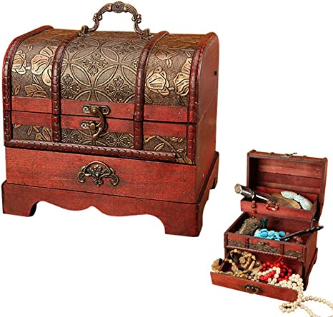 Vintage Box Wooden Case Metal Lock Storage Chest Home Decor  Accesories Craft