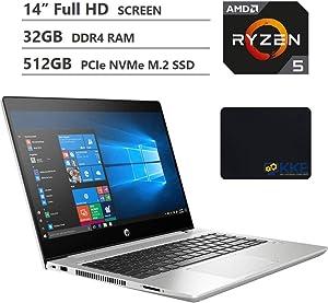 "2020 Newest HP Probook 445R G6 Business Laptop, 14"" Full HD Screen, AMD Ryzen 5 3500U Processor, 32GB RAM, 512GB SSD, Backlit Keyboard, Webcam, Wi-Fi, Bluetooth, Windows 10 Pro, KKE Bundle, Silver"