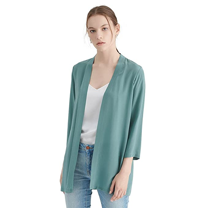 Vintage Coats & Jackets | Retro Coats and Jackets LilySilk 100 Real Silk Kimono Cardigan Lightweight Flowy Easy Matching Outerwear Draped Loose Open Front Summer $89.99 AT vintagedancer.com