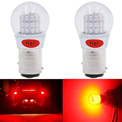 Alopee - 2-Pack 12-15V DC Extremely Bright Red 1157 2057 2357 7528 BAY15D 39SMD LED Bulbs Replacement for Halogen lamp Tail Brake Lights Stop Light: Automotive