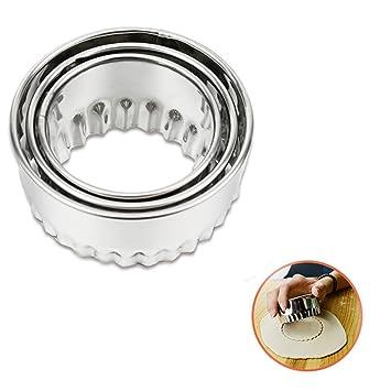 TAOtTAO - Molde de acero inoxidable para moldes de repostería (3 unidades), plata, B: Amazon.es: Hogar