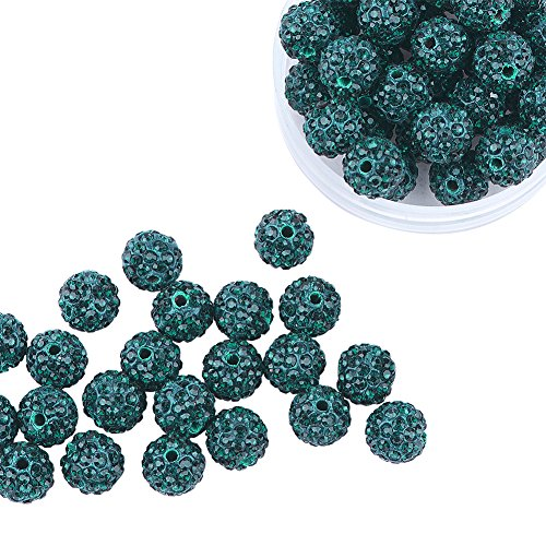 Pandahall 100 Pcs 10mm Emerald Shamballa Pave Disco Ball Clay Beads, Polymer Clay Rhinestone Beads Round Charms Jewelry (Green 12mm Round Bead)