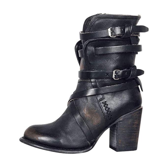 Damen Stiefeletten Plateau Boots Spitze Blockabsatz 70s Look