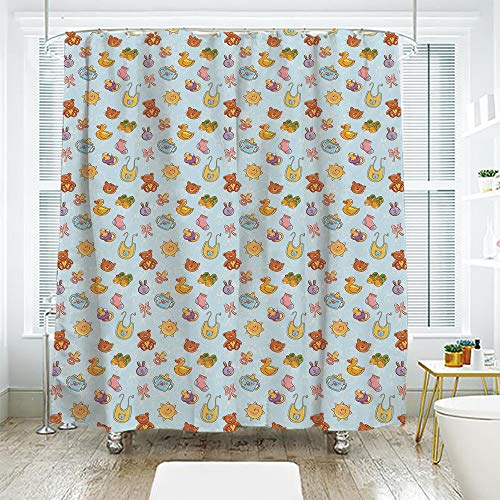 - scocici Bath Curtain Suit Bathroom Waterproof Curtain Bath Curtain,Baby,Newborn Sun Teddy Bear Ribbon Feeder Pacifier Chick Kitty Cat Design Decorative,Pale Blue Cinnamon Apricot,108.2