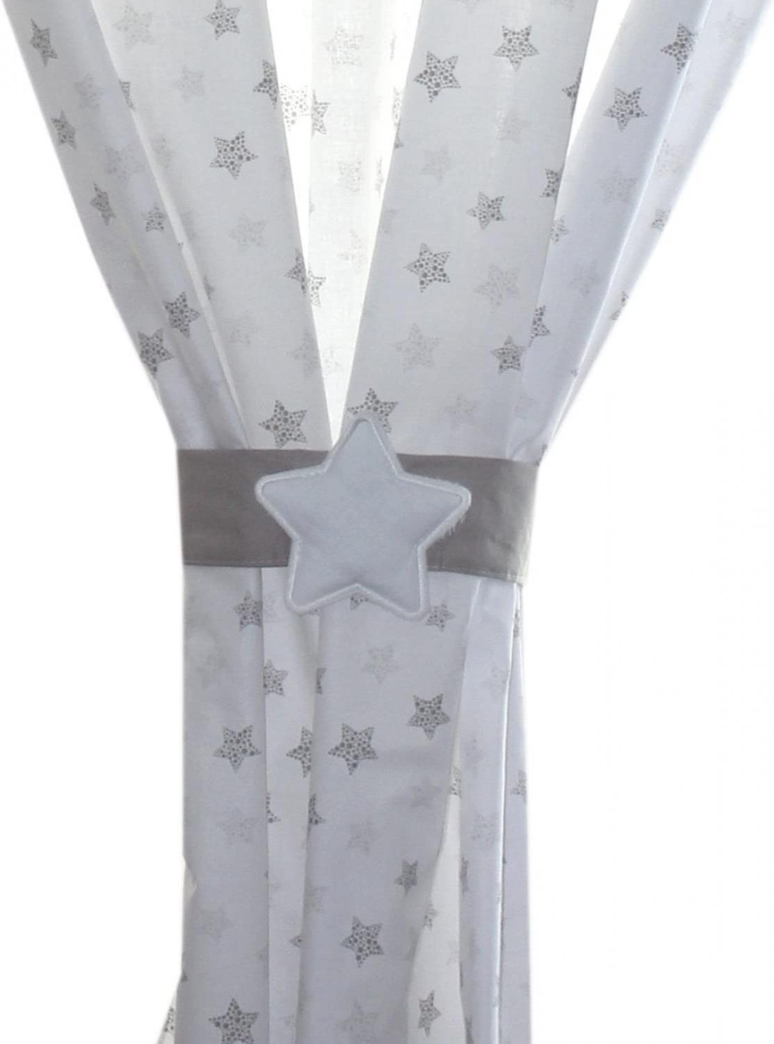ca Drops Stars Gray 155x155 cm TupTam Childrens Room Curtains Set with Tieback Star