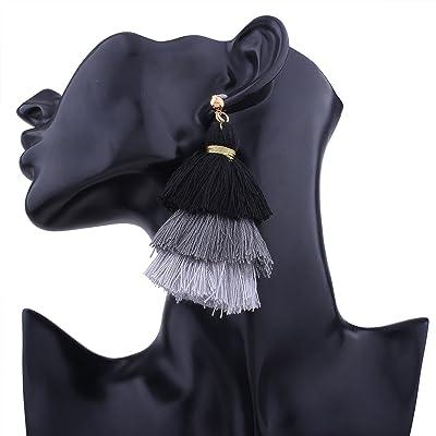 RENYZ.ZKHN Tassel Earrings Creative Multilayer Multicolor All-Match Lady Earrings Earrings Trend Street