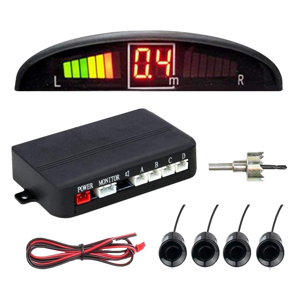 4 Backup Sensor Kit Parking Reverse Parking Sensor Car Reverse Sensors Distance Detection with LED Distance Display Reverse Sensors for Cars Proximity Sensor Zento Deals Reverse Backup Sensor