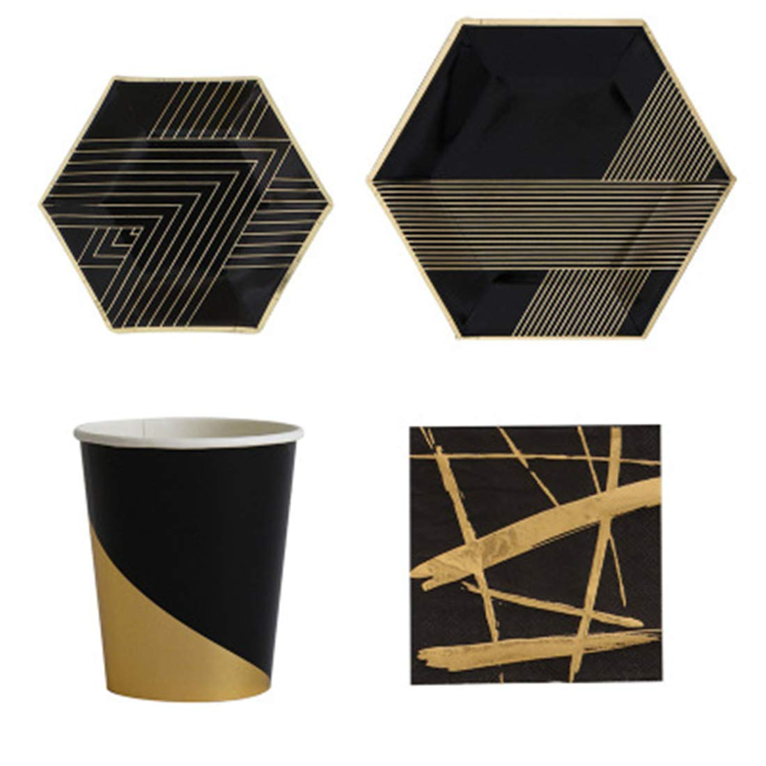 1 pcs Hot Stamping Black Paper Plate Disposable Party Tableware Paper Cup Paper Towel Paper Plate Simple Dish