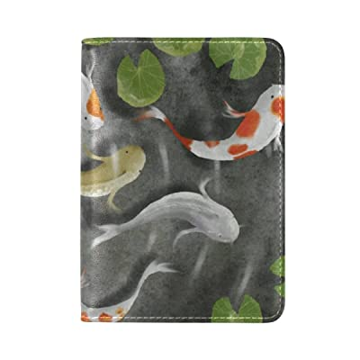 80%OFF PU Leather Passport Holder Cover Case with Carp Pond Travel One Pocket